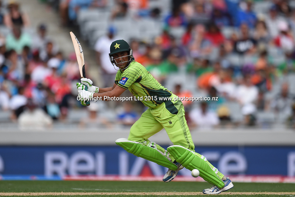 Pakistan batsman Younus Khan in action during the ICC Cricket World Cup match between Pakistan and South Africa at Eden Park in Auckland, New Zealand. Saturday 07 March 2015. Copyright Photo: Raghavan Venugopal / www.photosport.co.nz