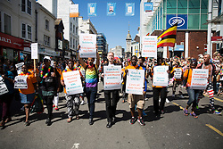 © Licensed to London News Pictures. 06/08/2016. Brighton, UK. Human rights campainer PETER TATCHELL takes part in the Brighton Pride Parade. Over 160.000 visitors will come to Brighton for the annual Pride event. Photo credit: Hugo Michiels/LNP