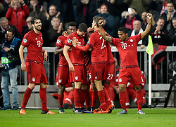 04.11.2015, Allianz Arena, Muenchen, GER, UEFA CL, FC Bayern Muenchen vs FC Arsenal, Gruppe F, im Bild TOR 3:0 durch David Alaba FC Bayern München mit Javi Javier Martinez FC Bayern München Kingsley Coman FC Bayern München Robert Lewandowski FC Bayern München Thomas Müller FC Bayern München Douglas Costa FC Bayern München (rechts) // during the UEFA Champions League group F match between FC Bayern Munich and FC Arsenal at the Allianz Arena in Muenchen, Germany on 2015/11/04. EXPA Pictures © 2015, PhotoCredit: EXPA/ Eibner-Pressefoto/ Weber<br /> <br /> *****ATTENTION - OUT of GER*****