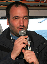 Jure Mastnak funny speaks at event on whale watching boat, when some guys of Slovenian Team were celebrating an anniversary of playing for Slovenian National Team for 100 (120) times, during IIHF WC 2008 in Halifax,  on May 07, 2008, sea at Halifax, Nova Scotia,Canada.(Photo by Vid Ponikvar / Sportal Images)