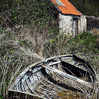 An old rowing boat in long grass near an outbuilding with a tin roof