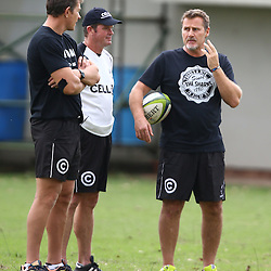 DURBAN, SOUTH AFRICA, 17 November 2015 - Ryan Strudwick (Assistant Coach) of the Cell C Sharks with Sean Everitt (Assistant Coach) of the Cell C Sharks and Robert du Preez( Assistant Coach) of the Cell C Sharks  during The Pre-season training squad and coaching team announcement at Growthpoint Kings Park in Durban, South Africa. (Photo by Steve Haag)<br /> images for social media must have consent from Steve Haag