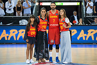 Spain's Juan Carlos Navarro with his wife and daughters during receive the congratulations for the player with more games with the national team friendly match for the preparation for Eurobasket 2017 between Spain and Venezuela at Madrid Arena in Madrid, Spain August 15, 2017. (ALTERPHOTOS/Borja B.Hojas)