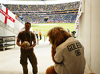 Photo: Chris Ratcliffe.<br /> England v Paraguay. Group B, FIFA World Cup 2006. 10/06/2006.<br /> Goleo, the German mascot is gutted at England winning in the dugout.