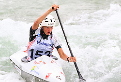 27.06.2015, Verbund Wasserarena, Wien, AUT, ICF, Kanu Wildwasser Weltmeisterschaft 2015, C1 women, im Bild Martina Satkova (CZE) // during the final run in the women's C1 class of the ICF Wildwater Canoeing Sprint World Championships at the Verbund Wasserarena in Wien, Austria on 2015/06/27. EXPA Pictures © 2014, PhotoCredit: EXPA/ Sebastian Pucher