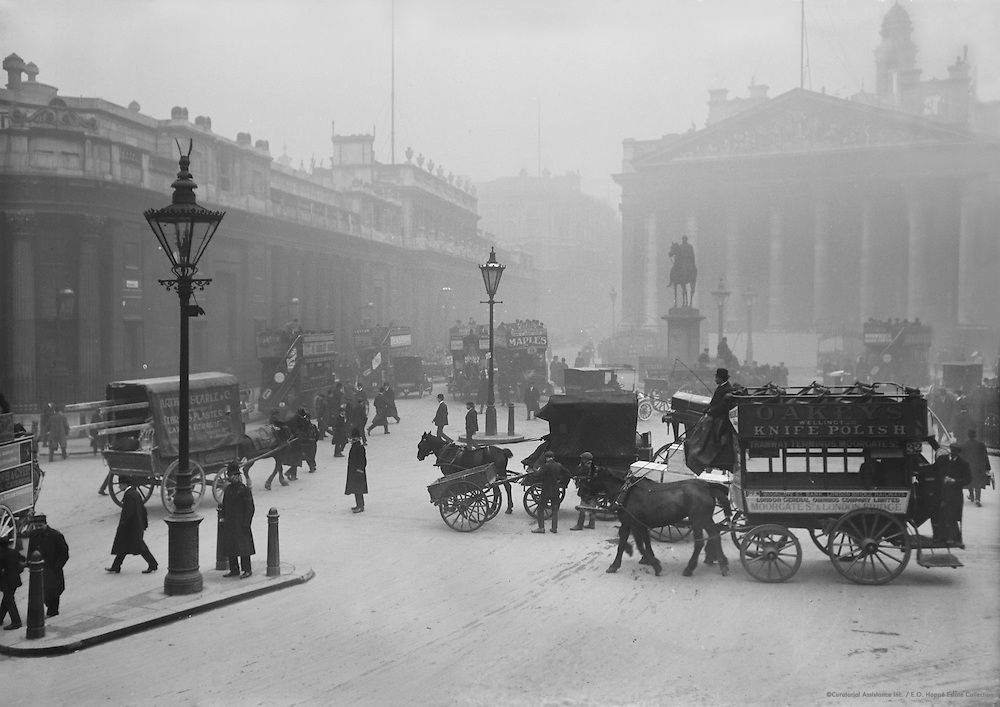 Street Scene with Horse-Drawn Buses, London, 1916