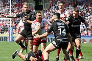Hull Kingston Rovers half back Danny McGuire (7) attempts to break the Hull FC defence during the Betfred Super League match between Hull FC and Hull Kingston Rovers at Kingston Communications Stadium, Hull, United Kingdom on 19 April 2019.