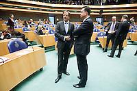 Nederland. Den Haag, 26 oktober 2010.<br /> De Tweede Kamer debatteert over de regeringsverklaring van het kabinet Rutte.<br /> Emile Roemer, SP en Alexander Pechtold, D66, oppositie, fractievoorzitter<br /> Kabinet Rutte, regeringsverklaring, tweede kamer, politiek, democratie. regeerakkoord, gedoogsteun, minderheidskabinet, eerste kabinet Rutte, Rutte1, Rutte I, debat, parlement<br /> Foto Martijn Beekman