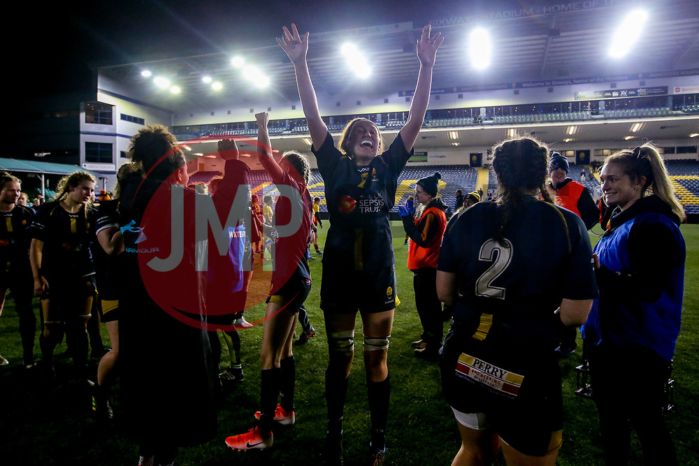 Elizabeth Shermer of Worcester Warriors Women celebrates victory over Richmond Women - Mandatory by-line: Robbie Stephenson/JMP - 11/01/2020 - RUGBY - Sixways Stadium - Worcester, England - Worcester Warriors Women v Richmond Women - Tyrrells Premier 15s