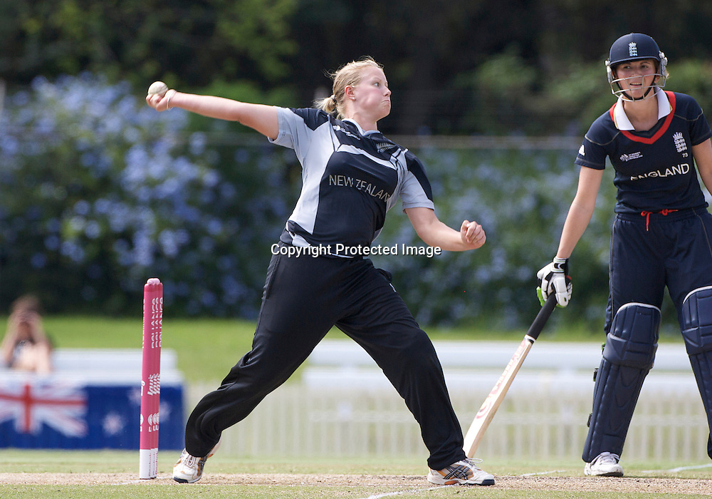 Sydney-March 14: Aimee Mason bowling during the match between England and New Zealand in the Super 6 stage of the ICC Women's World Cup Cricket match at Bankstown Oval, Sydney, Australia on March 14 2009, England made 201 for 5 in their 50 overs.. Photo by Tim Clayton.