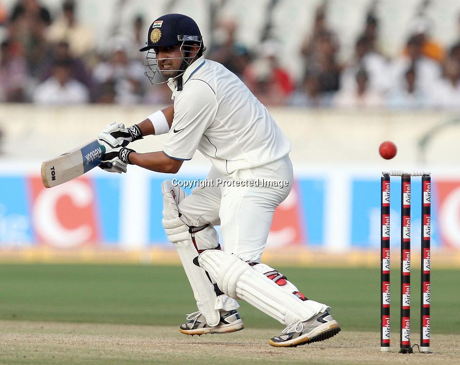 Indian Batsman Gautam Gambhir Hit The Shot Against New Zdealand  During The 2nd Test Match India vs New Zealand Played at Rajiv Gandhi International Stadium, Uppal, Hyderabad 13, November 2010 (5-day match)