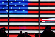 The American Flag at the US Armed Forces Recruiting Station, Times Square, New York City.