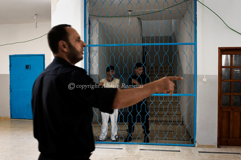Court yard of Hamas-run prison in Gaza City on September 8, 2010 after the Islamic movement leader in Gaza Strip Ismail Haniyeh ordered an amnesty before the Islamic festivity of Eid al-Fitr which marks the end of the Muslim month of Ramadan.© ALESSIO ROMENZI