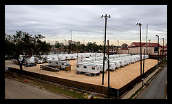 10th December, 2005. New Orleans, Louisiana. 3 1/2 months after the storm, an empty FEMA trailer park sits on what was once a baseball field in the Gentilly neighbourhood.
