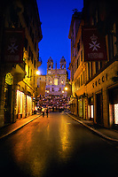 Looking from Via Condotti to the Spanish Steps (Piazza di Spagna, Rome, Italy