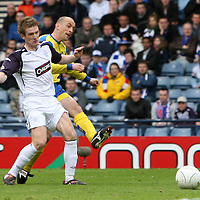 St Johnstone v Rangers.....Scottish Cup semi-final..20.04.08 <br /> Paul Sheerin puts his shot wide of the post in what was his first touch of the ball after coming on as a sub<br /> Picture by Graeme Hart.<br /> Copyright Perthshire Picture Agency<br /> Tel: 01738 623350  Mobile: 07990 594431