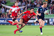 MELBOURNE, AUSTRALIA - APRIL 06: Reece Hodge of the Rebels looks to pass the ball at round 8 of The Super Rugby match between Melbourne Rebels and Sunwolves on April 06, 2019 at AAMI Park in VIC, Australia. (Photo by Speed Media/Icon Sportswire)