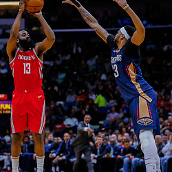 Jan 26, 2018; New Orleans, LA, USA; Houston Rockets guard James Harden (13) shoots over New Orleans Pelicans forward Anthony Davis (23) during the second quarter at the Smoothie King Center. Mandatory Credit: Derick E. Hingle-USA TODAY Sports