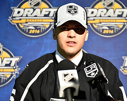 Kale Clague of the Brandon Wheat Kings was selected by the Los Angeles Kings at the 2016 NHL Draft in Buffalo, NY on Saturday June 25, 2016. Photo by Aaron Bell/CHL Images