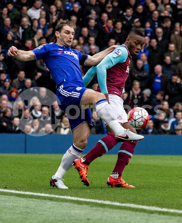Branislav Ivanovic of Chelsea  during the Barclays Premier League match between Chelsea and West Ham United at Stamford Bridge, London, England on 19 March 2016. Photo by Steve Ball.
