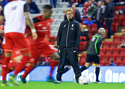 LIVERPOOL, ENGLAND - Wednesday, October 28, 2015: Liverpool's manager Jürgen Klopp watches his players warm-up before the Football League Cup 4th Round match against AFC Bournemouth at Anfield. (Pic by David Rawcliffe/Propaganda)