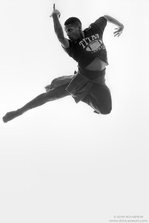 Black and white dance photography- Air- featuring Dance As Art dancer Jarrett Rashad