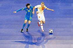 Oleksandr Pediash of Ukraine and Miguelin of Spain during futsal quarterfinal match between National teams of Ukraine and Spain at Day 8 of UEFA Futsal EURO 2018, on February 6, 2018 in Arena Stozice, Ljubljana, Slovenia. Photo by Urban Urbanc / Sportida