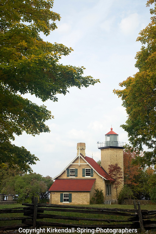 WI00098-00...WISCONSIN - Eagle Bluff Lighthouse over looking Lake Michigan from Peninsula State Park in Door County.
