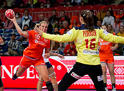 06-12-2019 JAP: Norway - Netherlands, Kumamoto<br /> Last match groep A at 24th IHF Women's Handball World Championship. / The Dutch handball players won in an exciting game of fear gegner Norway and wrote in the last group match at the World Handball  World Championship history (30-28). / Danick Snelder #10 of Netherlands, Andrea Austmo Pedersen #16 of Norway