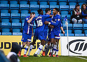 Gillingham defender John Egan celebrates his goal during the Sky Bet League 1 match between Gillingham and Bury at the MEMS Priestfield Stadium, Gillingham, England on 14 November 2015. Photo by David Charbit.