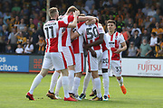George Lloyd celebrates his first goal for CTFC during the EFL Sky Bet League 2 match between Cambridge United and Cheltenham Town at the Cambs Glass Stadium, Cambridge, England on 21 April 2018. Picture by Antony Thompson.