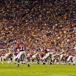 November 3, 2012; Baton Rouge, LA, USA; A general view of the LSU Tigers offense against the Alabama Crimson Tide defense during a game at Tiger Stadium. Alabama defeated LSU 21-17. Mandatory Credit: Derick E. Hingle-US PRESSWIRE