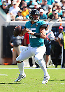 Oct 13, 2019; Jacksonville, FL USA;  Jacksonville Jaguars quarterback Gardner Minshew (15) gets ready to throw a pass during an NFL game against the New Orleans Saints at TIAA Bank Field in Jacksonville, FL. The Saints beat the Jaguars 13-6. (Steve Jacobson/Image of Sport)