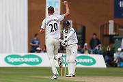 Wicket! Oliver Hannon-Dalby of Warwickshire celebrates taking the wicket of Jonathan Tattersall of Yorkshire during the Specsavers County Champ Div 1 match between Yorkshire County Cricket Club and Warwickshire County Cricket Club at York Cricket Club, York, United Kingdom on 17 June 2019.