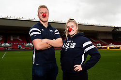 James Dun of Bristol Bears and Mackenzie Carson of Bristol Bears Women during a photo call at Ashton Gate for Red Nose Day - Ryan Hiscott/JMP - 06/03/2019 - SPORT - Ashton Gate Stadium - Bristol, England - Bristol Sport Red Nose Day
