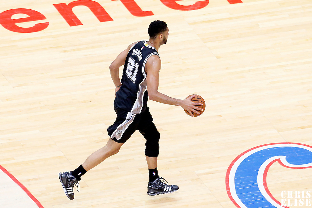 19 April 2014: San Antonio Spurs forward Tim Duncan (21) brings the ball up court during the Los Angeles Clippers 107-92 victory over the San Antonio Spurs, during Game One of the Western Conference Quarterfinals of the NBA Playoffs, at the Staples Center, Los Angeles, California, USA.