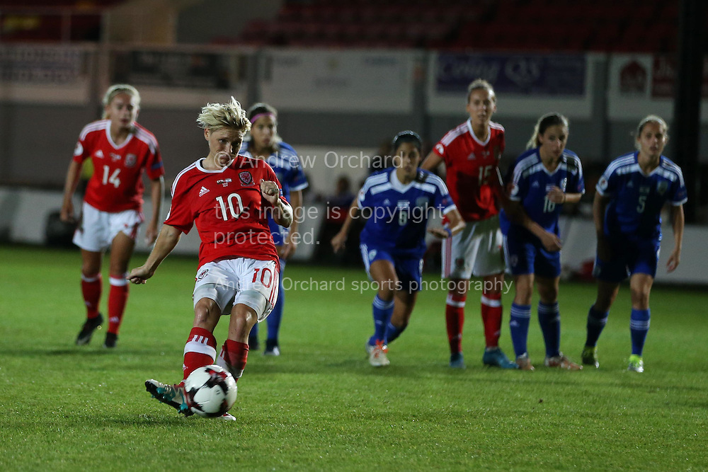 Jessica Fishlock of Wales women takes a penalty late in the game but sees it saved by Merav Shamir , the Israel goalkeeper. UEFA Womens Euro qualifying match, Wales Women v Israel Women at Rodney Parade in Newport, South Wales on Thursday 15th September 2016.<br /> pic by Andrew Orchard, Andrew Orchard sports photography.