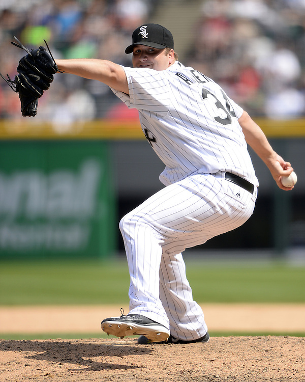 CHICAGO - MAY 21:  Matt Albers #34 of the Chicago White Sox pitches against the Kansas City Royals on May 21, 2016 at U.S. Cellular Field in Chicago, Illinois.  The Royals defeated the White Sox 2-1.  (Photo by Ron Vesely)   Subject:   Matt Albers