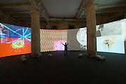 """55th Art Biennale in Venice - The Encyclopedic Palace (Il Palazzo Enciclopedico).<br /> Arsenale.<br /> Stan VanDerBeek (U.S.A.) """"Movie Mural"""", 1968/2013."""