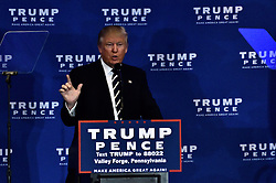 Republican presidential candidate DONALD TRUMP delivers a speech outlining his health care policy at an event with Vice-presidential candidate Mike Pence and former candidate Ben Carson, in King of Prussia, PA., in the Philadelphia Suburbs, on November 1, 2016