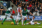 Mark Milligan of Hibernian FC under pressure in his own 18 yard box during the Ladbrokes Scottish Premiership match between St Mirren and Hibernian at the Simple Digital Arena, Paisley, Scotland on 29th September 2018.