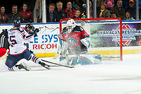 KELOWNA, BC - OCTOBER 2:  Roman Basran #30 of the Kelowna Rockets makes a second period save against the Tri-City Americans  at Prospera Place on October 2, 2019 in Kelowna, Canada. (Photo by Marissa Baecker/Shoot the Breeze)