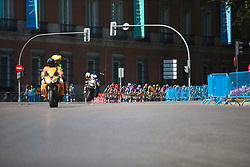 The peloton leans into a corner during Stage 2 of the Madrid Challenge - a 100.3 km road race, starting and finishing in Madrid on September 16, 2018, in Spain. (Photo by Balint Hamvas/Velofocus.com)