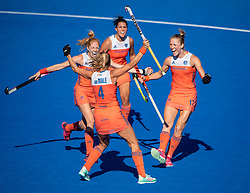 The Dutch celebrate Kitty Van Male's goal. Vitality Hockey Women's World Cup, Lee Valley Hockey and Tennis Centre, London, UK on 05 August 2018. Photo: Simon Parker