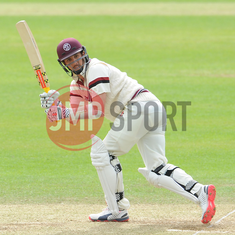 Somerset's Tom Cooper flicks the ball. Photo mandatory by-line: Harry Trump/JMP - Mobile: 07966 386802 - 10/05/15 - SPORT - CRICKET - Somerset v New Zealand - Day 3- The County Ground, Taunton, England.