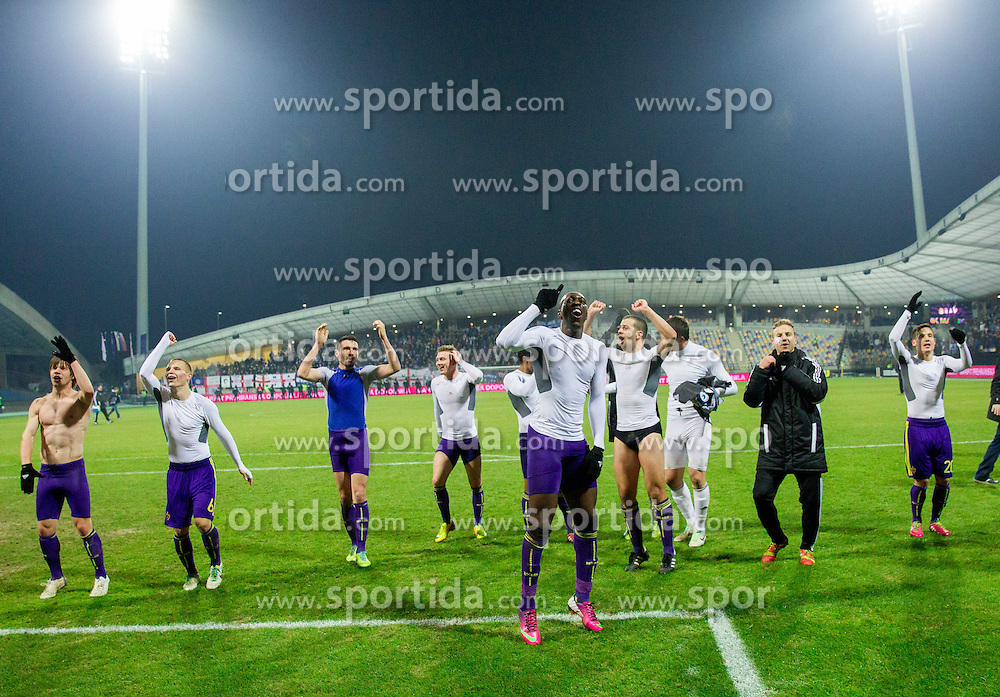 Players of Maribor celebrate after winning during football match between NK Maribor and Wigan Athletic FC (ENG) in Round 6 of Group D of UEFA Europa League 2014, on December 12, 2013 in Stadion Ljudski vrt, Maribor, Slovenia. Maribor won against Wigan 2-1 and qualified to next Stage. Photo by Vid Ponikvar / Sportida