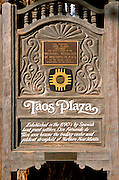 Taos Plaza sign and national register of historic places plaque, Taos, New Mexico .