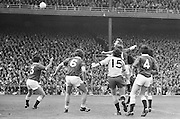 Players jump high as ball falls from the air during the All Ireland Senior Gaelic Football Championship Final Dublin V Galway at Croke Park on the 22nd September 1974. Dublin 0-14 Galway 1-06.