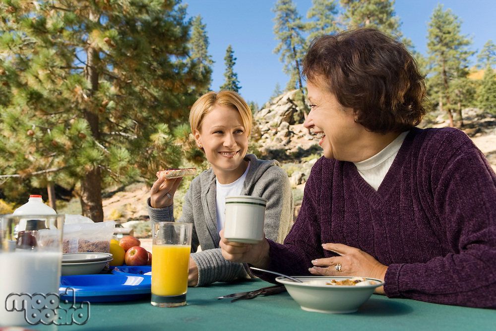 Women Sitting at Picnic Table