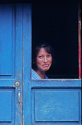 Blue , Colonial , Colors , Doorway , Friendly , Mexico , People , Smile , Town , Vertical , Village  Women , color image